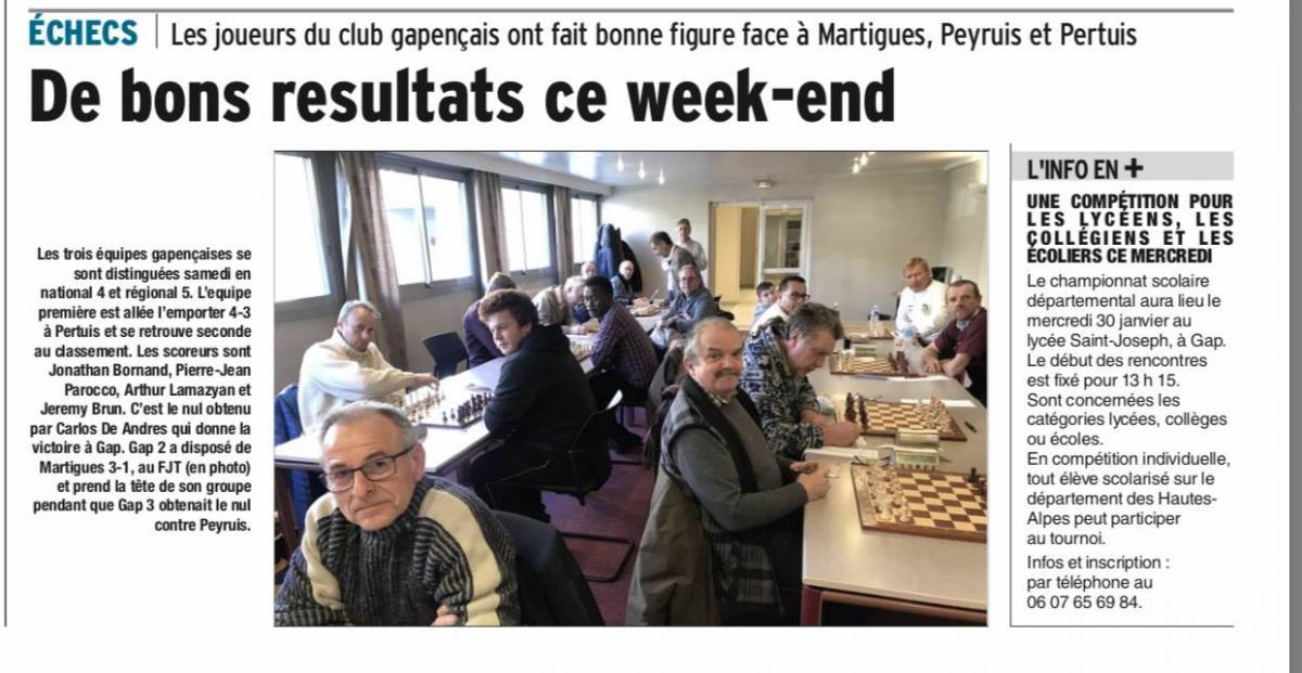 Les résultats du week end dans le Dauphiné