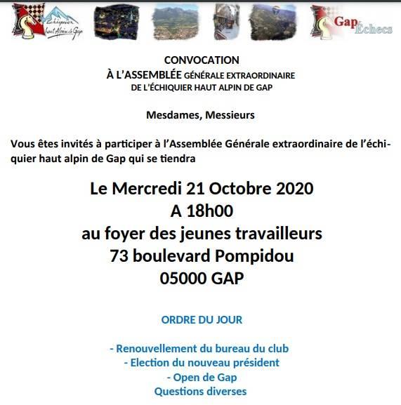 ASSEMBLEE GENERALE DU CLUB LE 21 octobre